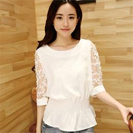 韓版女裝優雅收腰顯瘦雪紡上衣