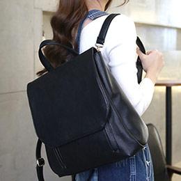 韓劇同款時尚雙拉鍊荔枝紋後背包