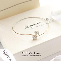 歐美時尚 交錯方形水鑽細緻線條金屬手環