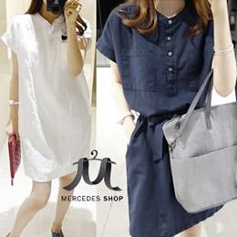 兩穿式綁帶棉麻修身洋裝-2色