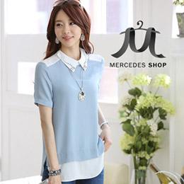 韓國拼接短袖雪紡衫-3色