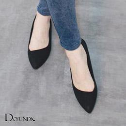 簡約素面質感皮紋尖頭平底鞋