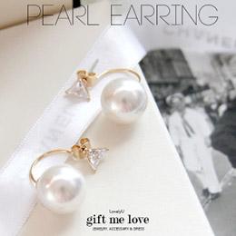 璀璨奧地利三角水鑽 垂掛大珍珠 後扣式耳環(大款)