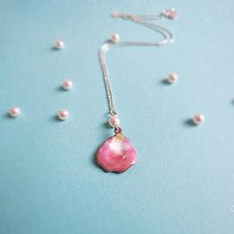 粉紅花瓣加珍珠款 (項鍊琺瑯) 925純銀