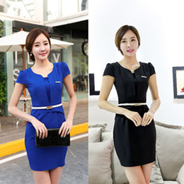 深V領弧型腰身顯瘦洋裝(2色)