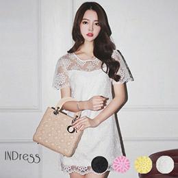蕾絲刺繡鉤花歐根紗洋裝-4色