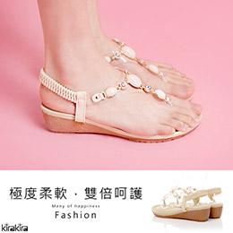 奢華假期X珠寶鑲鑽楔型涼鞋