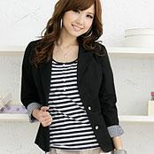 【Lisa Lisa】日系修身形百搭黑色純棉西裝外套