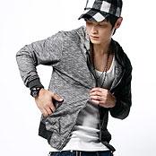【機場客】細條紋彈性棉質 休閒連帽 薄外套