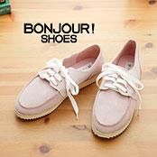 【bonjour】獨家限定款!繽紛亮彩麂皮休閒鞋-純真粉