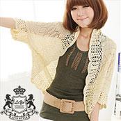 【理優LIYO】時尚鏤空提花設計針織罩衫披肩外套