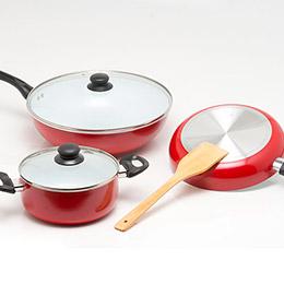 白陶瓷炒鍋平煎鍋湯鍋6件式