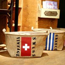 韓風復古國旗棉麻衣物收納袋
