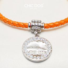 皮革圓繩項鍊-皇家晶鑽(含鑽圈刻牌)