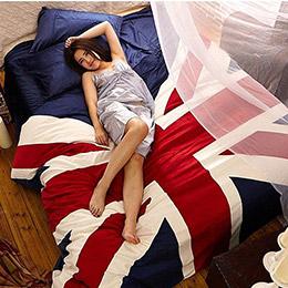 英國國旗天鵝絨超保暖4件套床包組