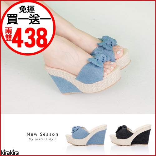 優雅帆布蝴蝶結楔型拖鞋2色