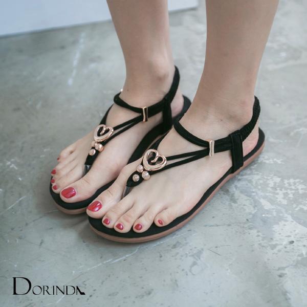 愛心金飾軟底平底夾腳涼鞋