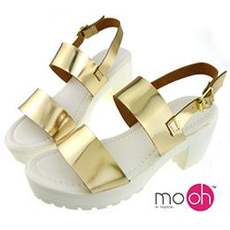日系金屬色厚底皮帶扣涼鞋