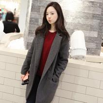 韓時尚翻領、立領雙穿法長大衣