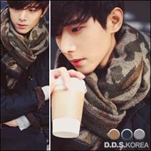 韓國 超好搭推薦 迷彩長版款保暖圍巾