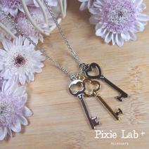 韓製三色鑰匙精緻長項鍊