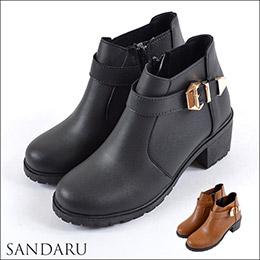 早春質感☆側皮帶粗跟短靴