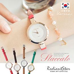正韓STACCATO極簡刻度彩色真皮漆皮錶