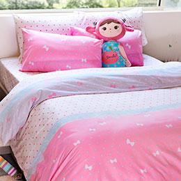 雙人床包被套組-[粉漾春彩]磨毛超細纖維