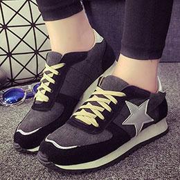 韓系個性繫帶星星學院休閒鞋