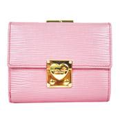 橫水波紋框粉紅色皮夾