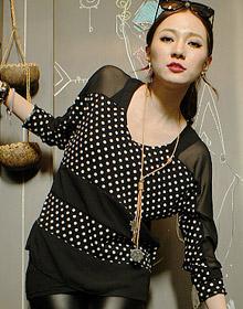 透明紗網拼接波點條紋上衣