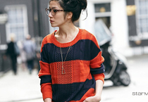 麻花編織寬條紋針織衣