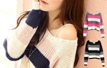 配色條紋粗織毛衣