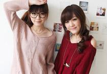 麻花織紋露肩設計毛衣