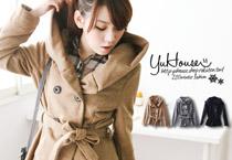 六釦花苞領毛料大衣
