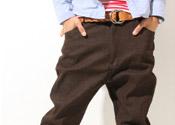 褐色伸縮單寧布飛鼠褲
