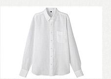無印良品 水洗麻扣領白襯衫