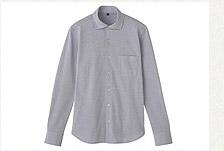 無印良品 棉鹿子寬領淺灰襯衫