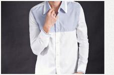 胸口拼接細條紋長袖襯衫4色