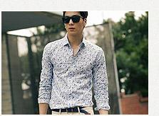復古藍色印花襯衫