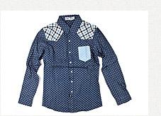 Puff Nation圓點拼接格紋襯衫