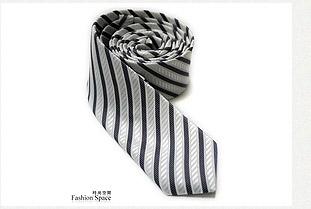 立體窄版斜紋領帶-灰白條紋