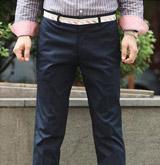 韓國進口褲頭裝飾無摺西裝褲