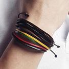 多圈彩色皮繩拼接個性手環