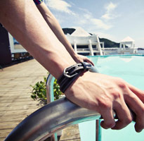 雙色皮帶扣造型皮手環