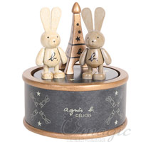 agnes b. 情人兔木質音樂盒+馬克杯