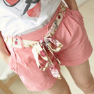 糖果色口袋反折雙釦短褲