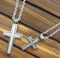 鈦鋼雙層十字架項鍊