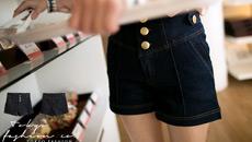 中腰排釦車線牛仔短褲