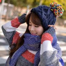韓版加厚格子羊絨披肩